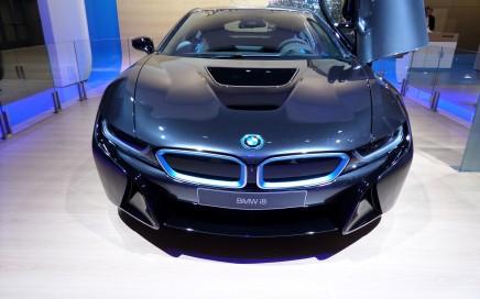 Dark blue BMW i8 electric car