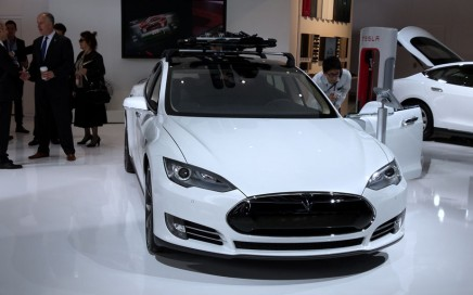 White Tesla Model S at the NAIAS. Front view.