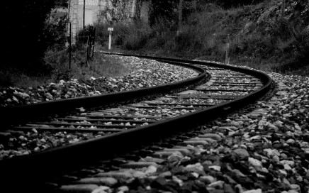 A railway in black and white