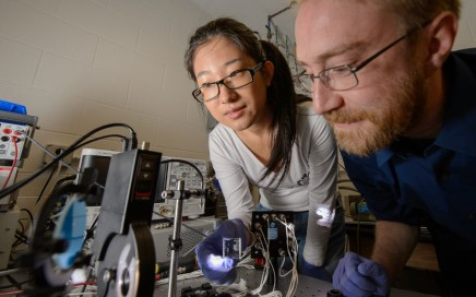 Yimu Zhao and Richard Hunt in the lab testing the cell. Image obtained with thanks from Michigan State University.